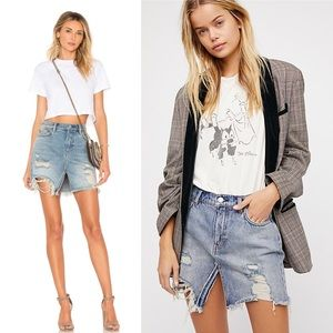 •Free People• Relaxed & Destroyed Split Mini Skirt